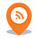 gps, location, map pin, pin, rss icon