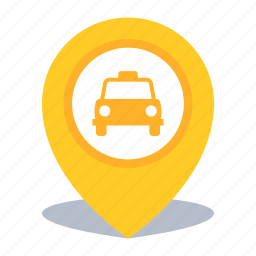 cab, gps, location, map pin, pin, taxi station icon