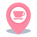 coffee shop, gps, location, map pin, pin