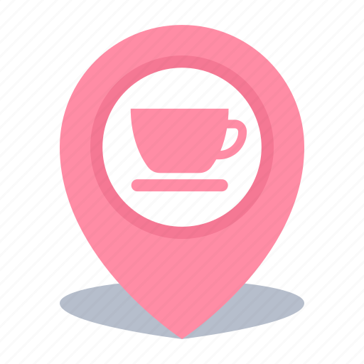 coffee shop, gps, location, map pin, pin icon