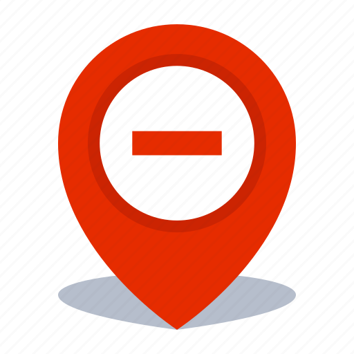gps, location, map pin, pin, remove icon