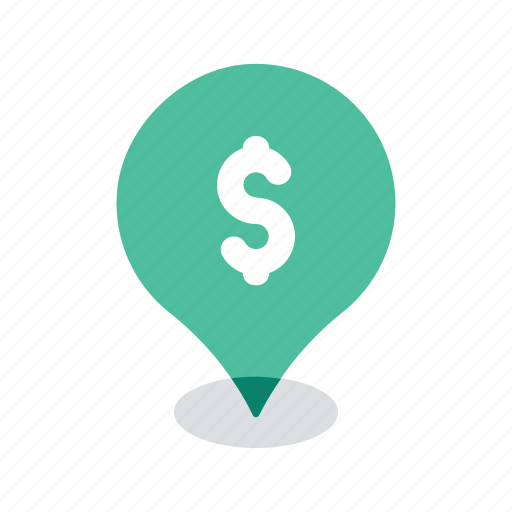bank, finance, location, map, navigation, pin, pointer icon