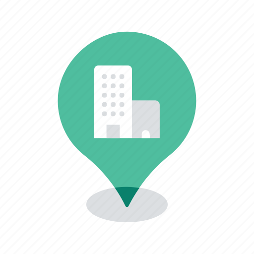 apartment, building, location, map, navigation, office, pin icon