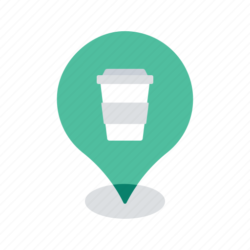 cafe, coffee, drink, location, map, navigation, pin icon