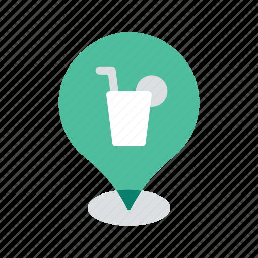 bar, beverage, drink, location, map, navigation, pin icon