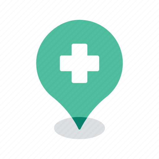 healthcare, location, map, medical, navigation, pin, pointer icon