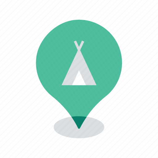 camping, location, map, navigation, pin, site, tent icon
