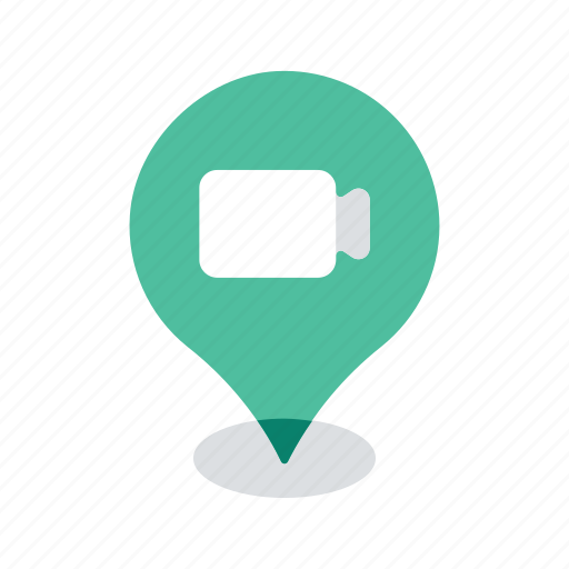 camera, location, map, navigation, pin, pointer, video icon