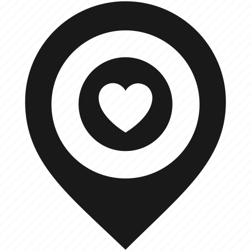 heart, location, map, marker, navigation, pin, pointer icon