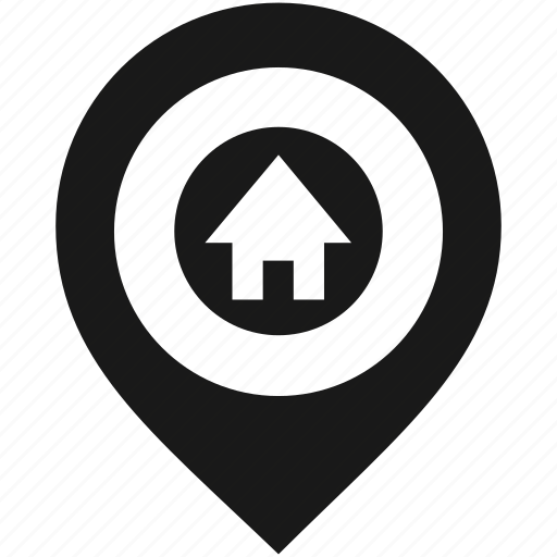 house, location, map, marker, navigation, pin, pointer icon