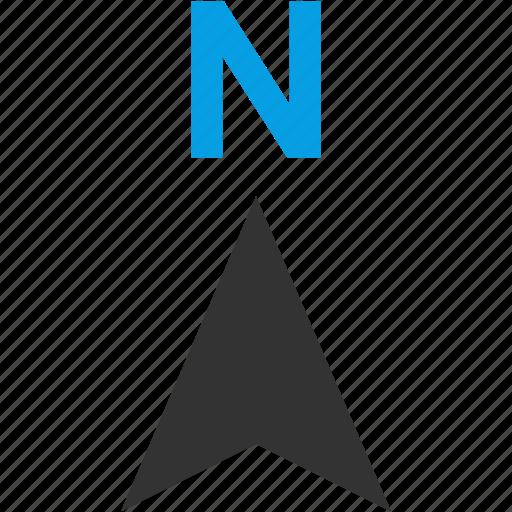 arrow, direction, locate, location, navigation, north icon