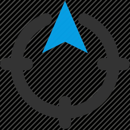 area, arrow, direction, locate, north icon