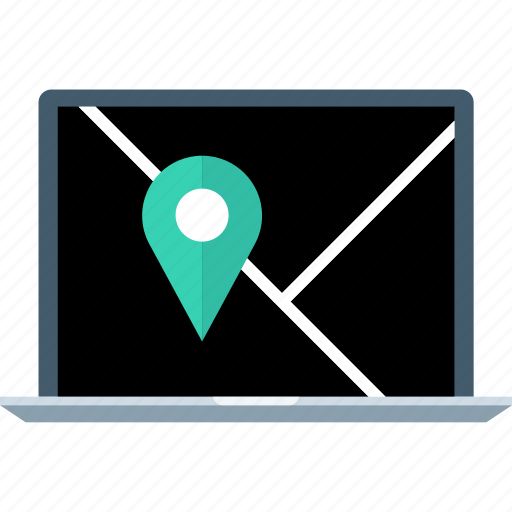 laptop, location, pin icon