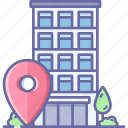 building, location, map, navigation, pin icon
