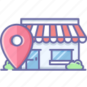 location, map, navigation, pin, shop icon