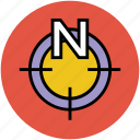 cardinal point, compass, compass pointing north, north icon
