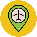 airport location, airport location pin, location marker, map locator, map pointer icon