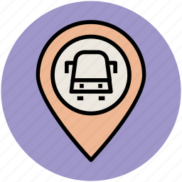 bus location pin, bus stop location, location marker, map locator, map pointer icon