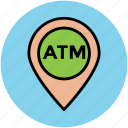 atm location, atm location pin, location marker, map locator, map pointer icon