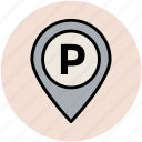 location pin, map pin, parking area, parking location, parking navigation, parking place icon