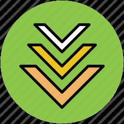 directional arrows, down arrows, down location arrows, navigation arrows, road sign icon