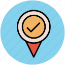 location confirmed, location marker, location verified, location visited, map pointer icon