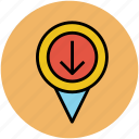 down arrow location, gps, locator, map pointer, navigator icon
