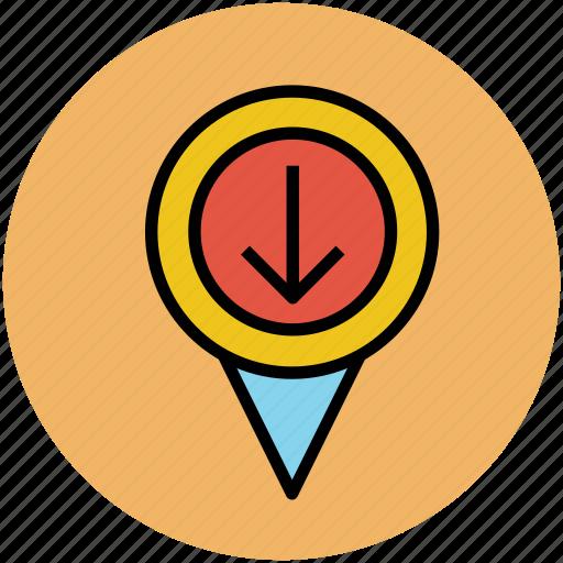 down arrow location, gps, locator, map pointer, navigator icon