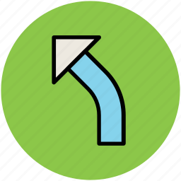 arrow, direction arrow, left arrow, navigation arrow, road sign, traffic arrow icon