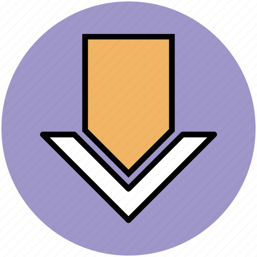 direction arrow, down arrow, down location arrow, navigation arrow icon