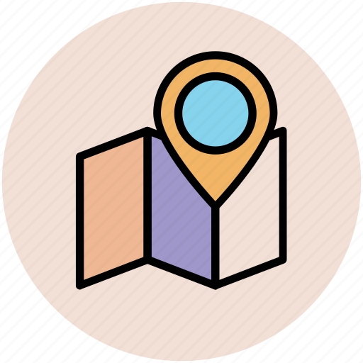 location pin, map, map location, map locator, map pin, unfolded map icon