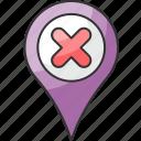 cancel, cross, delete, location, pin, remove