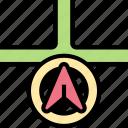 navigation, arrow, direction, route, map