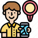 phone, map, tracker, application, search