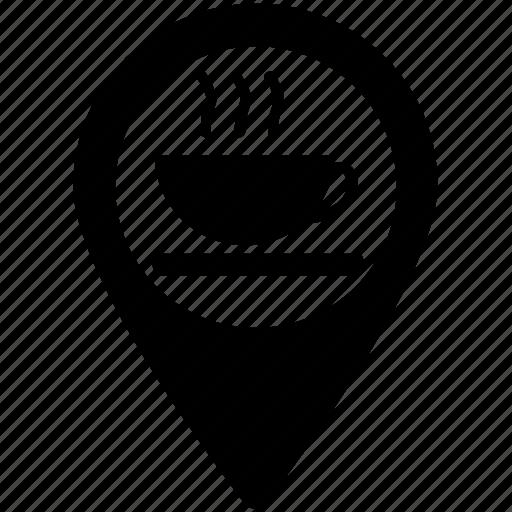 cafe, cafeteria, coffee bar, coffee shop, map pointer, pointer button icon