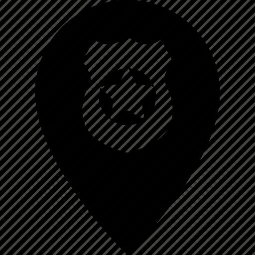 adress, destination, location, map, pin, police, shield icon