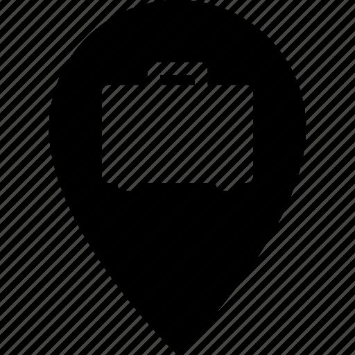 adress, business, destination, job, map pin, suitcase, work icon