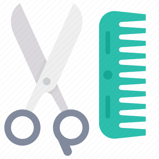 comb, hairstyling, scissors, tools icon