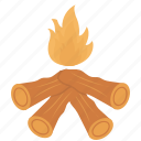 burn, camping, fire, wood