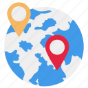 global, gps, pin, world icon