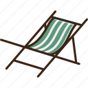 chair, relax, seat, summer, sunbathing, sunbed, tropical icon