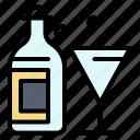 bottle, drink, glass, wine icon