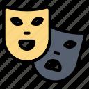 gras, mardi, masks, roles, theater icon
