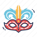 carnival, celebration, face, feathers, mardi gras, mask, with icon