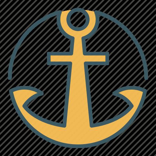 anchor, circle, marine, sailor, ship icon