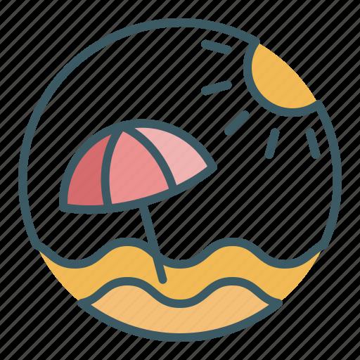 beach, parasol, summer, sunny, sunshade, umbrella, vacation icon