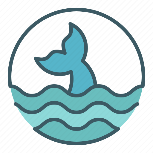 circle, fin, fish, ocean, sea, whale icon
