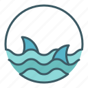 circle, danger, dangerous, ocean, sea, sharks, water icon