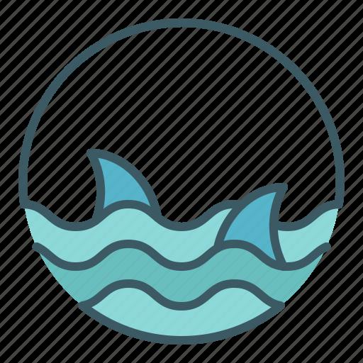 circle, danger, dangerous, ocean, sea, sharks, water icon