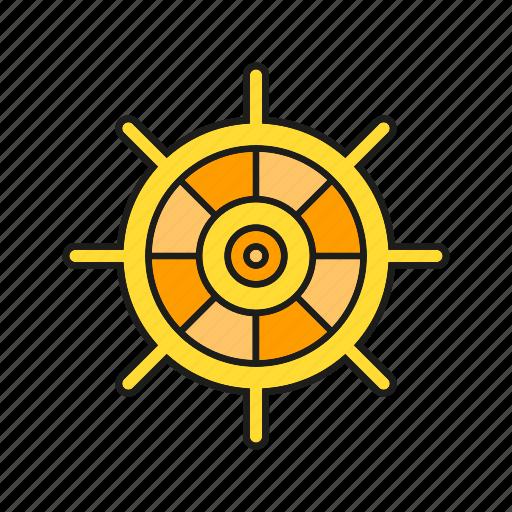 marine, nautical, navigation, ocean, rudder, steer icon